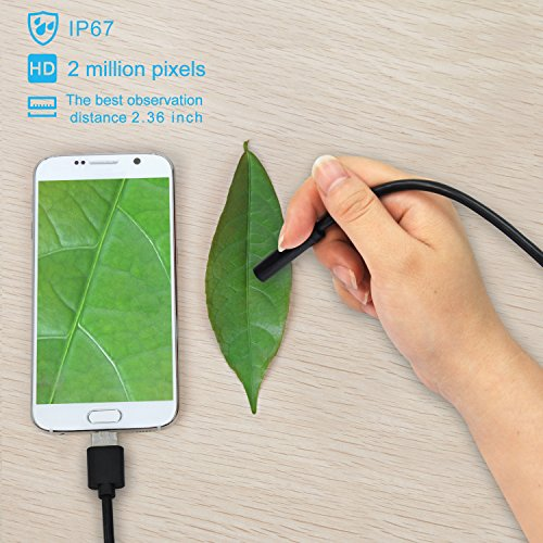 USB Endoscope, Depstech 2 in 1 Semi-rigid Borescope Inspection Camera 2.0MP CMOS HD Waterproof Snake Camera with 6 Adjustable Led for Android, Windows & Macbook OS Computer- 16.4 ft(5M)