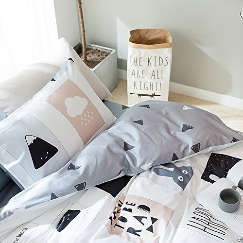 AMWAN Cartoon Rabbit Print Kids Bedding Duvet Cover Set Cotton Geometric Reversible Bedding Set Queen Boys Girls Duvet Comforter Cover Set 3 Piece Children Bedding Collection Queen Bed for Summer by AMWAN (Image #4)