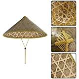 Amerryllis Chinese Oriental Coolie Sun Hat Brimmed Bamboo Straw Hat Tourism  Rain Cap Cone Conical Farmer 704cbc6b17fb