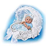 Marissa May Lifelike Baby Doll with 7 Piece Ensemble and Carriage Wicker Basket by The Ashton-Drake Galleries