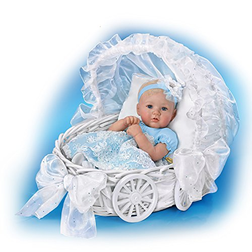 (Marissa May Lifelike Baby Doll with 7 Piece Ensemble and Carriage Wicker Basket by The Ashton-Drake Galleries)