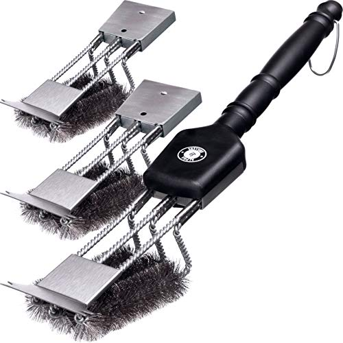 18 Grill Brush with Scraper. Unique 3 Replaceable Heads Design. Best BBQ Cleaner. Safe for All Grills. Durable Stainless Steel Wire Bristles. A Perfect Grilling Gift for Barbecue Lovers.