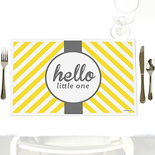Hello Little One - Yellow and Gray - Party Table Decorations - Neutral Baby Shower Party Placemats - Set of 12