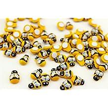 Blabroge 100 pcs Wooden Bumble Bee Self Adhesive Mini Bees Wood Craft Card (Yellow/Black)