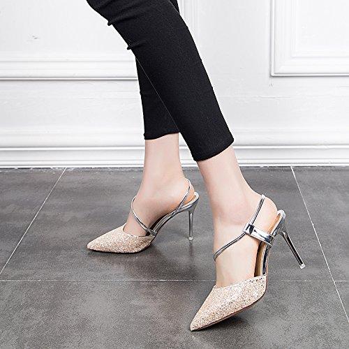 GTVERNH Crystal Shoes Princesa 9 Cm De Tacon Alto Fino Zapatos Zapatillas Chicas Sandalias De Verano. Champagne color