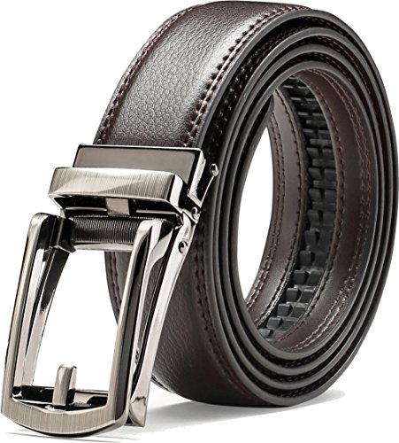 "Genuine Leather Belt For Men – Ratchet Dress Belt With Automatic Buckle - 1.25"" Wide Adjustable Notch-Free Design (BROWN, Wasit Size: Up to 43"")"