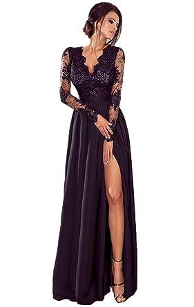 QiJunGe V Neck Long Sleeve Prom Dress High Slit Chiffon Formal Long ...