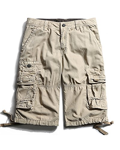 OCHENTA Men's Casual Lightweight Outdoor Cargo Flat Front Shorts Khaki 34 - Shorts Light Cargo Khaki