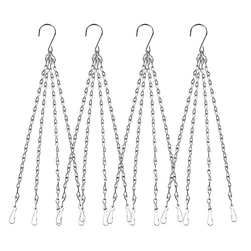 Flower 4 Strand - 4Pack - 24 Inch 4 Leads Hanging Chain with Hooks Flower Pot Chain Replacement Plant Hangers for Bird Feeders, Planters and Lanterns (Silver)