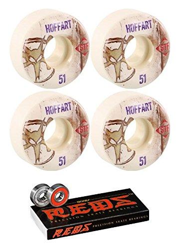 把握儀式ワードローブBones Wheels 51 mm Pro STF VintageスケートボードWheels with Bones Bearings – 8 mm Bones Reds Precisionスケート定格スケートボードベアリング – 2アイテムのバンドル