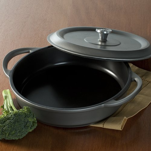 011172215260 - Nordic Ware Pro Cast Traditions Enameled Braiser Pan with Cover, 12-Inch, Slate carousel main 1