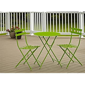Cosco Outdoor Bistro Set, 3 Piece, Folding, Bright Green