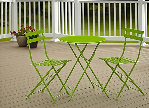 Green Chairs Outdoor Folding - Cosco Outdoor Bistro Set, 3 Piece, Folding, Bright Green