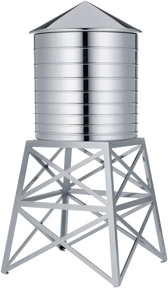"""Alessi Water Tower Kitchen Container in Stainless Steel, Mirror Polished 10.75"""""""