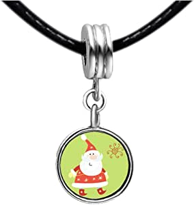 Chicforest Silver Plated Santa Claus Photo White Crystal(April Birthstone) Flower dangle Charm Beads Bracelets European Bracelets Compatible
