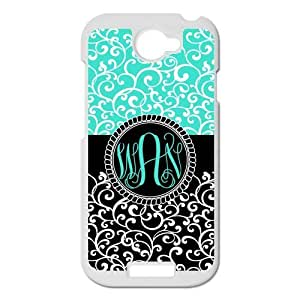 HTC One S Case Cyan and Black European style Palace Retro Pattern VS Circle Monogram Luxury Cover Case Plastic For HTC One S ALL MY DREAMS