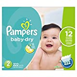 Pampers Baby-Dry Disposable Diapers Size 2, 222 Count, ECONOMY PACK PLUS