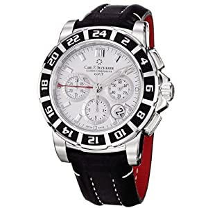 Carl F. Bucherer Men's 0010618132301 Patravi Silver Chronograph Dial Black Strap Watch