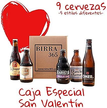 Regalo para hombres San Valentín. Caja de cervezas especiales.