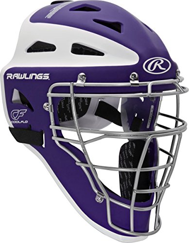 Rawlings Sporting Goods Adult Velo Series Catchers Helmet, Purple/White, 7 1/8-7 3/4
