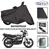 Fabtec Premium Quality Waterproof Bike Body Cover with Heavy Buckle Lock & Storage Bag for Hero Passion Pro