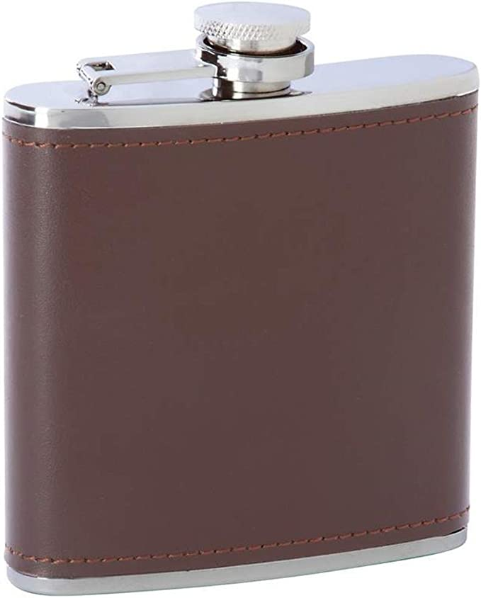 Alex Land 6oz Leather Wrapped Premium Quality Stainless Steel Flask with 2 Shooters and Funnel Gift Set in Black Gift Box