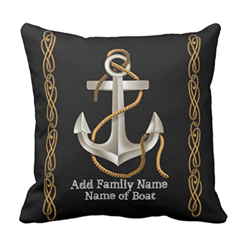 Emvency Throw Pillow Cover Boat Nautical Rope Anchor Custom Ship Decorative Pillow Case Home Decor Square 16 x 16 Inch Pillowcase