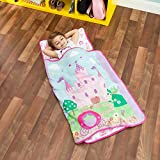 Toys : Everyday Kids Toddler Nap Mat with Removable Pillow -Princess Storyland- Carry Handle with Fastening Straps Closure, Rollup Design, Soft Microfiber for Preschool, Daycare, Sleeping Bag -Ages 2-4 years
