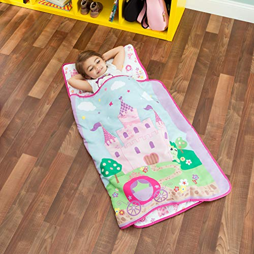 - Everyday Kids Toddler Nap Mat with Removable Pillow -Princess Storyland- Carry Handle with Fastening Straps Closure, Rollup Design, Soft Microfiber for Preschool, Daycare, Sleeping Bag -Ages 2-4 years