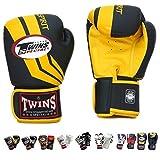 Auth Twins Special Muay Thai Boxing Gloves KickBoxing Muay Thai MMA K1 Gloves FBGV-43 Sprint Black/Yellow Signature Gloves - 8,10,12,14,16 Oz (8 oz)