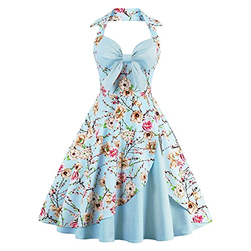 IBTOM CASTLE Women Vintage Floral Print Halter Cocktail 1950s Retro Rockabilly Swing Dresses Audrey Hepburn 50's 60's Homecoming Party Gown Sky Blue L