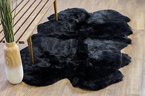 Genuine Australian Sheepskin Rug Four Pelt Black Fur, Quarto