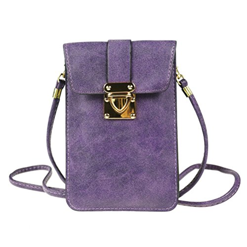Matte PU Leather 2 Layers Vintage Cellphone Pouch Bag with Shoulder Strap for Apple iPhone Samsung Galaxy and Other Smartphone Purple ()
