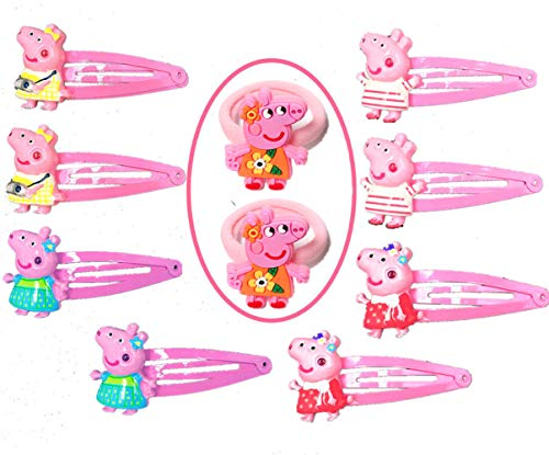 (Girl Hair Accessories Peppa | Pig Hair Clips Headwear | Party Favors Party Accessories (10 Pieces))