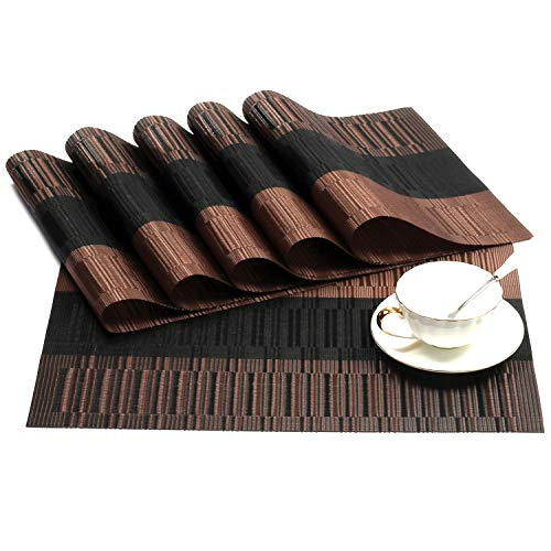 (SHACOS Exquisite Placemats Set of 8 Woven Vinyl Place Mats Heat Resistant Dining Table Mats (8, Ombre Coffee Black))