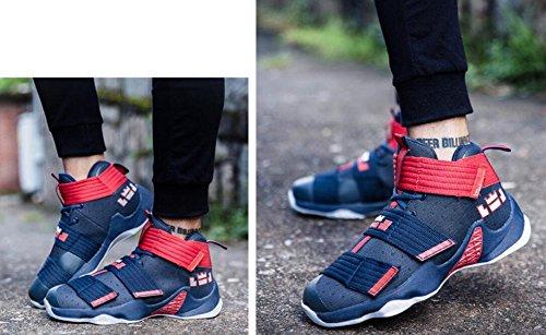 Männer Basketball Schuhe für Frauen Performance Sport Klett Turnschuhe von JiYe Blau Rot-1