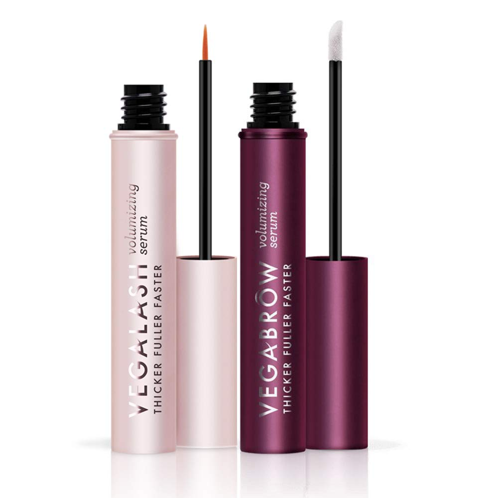 VEGAMOUR Lash and Brow Volumizing Serum Kit, Bundle of 1 Vegalash and 1 Vegabrow - Natural Hormone Free Vegan Plant Based Cruelty Free Eyelash and Eyebrow Thickening Formula Boosts Healthy Growth by VEGAMOUR