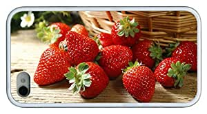 Hipster brand new iPhone 4S covers strawberries TPU White for Apple iPhone 4/4S