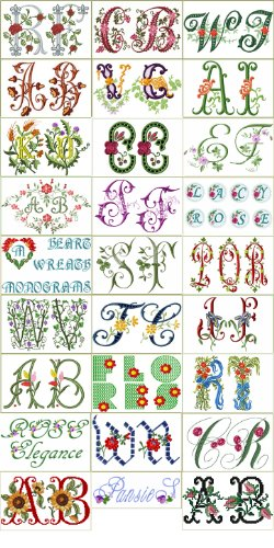 ABC Machine Embroidery Designs Collection -30 Floral Fonts and Alphabets - - Font Designs Embroidery Alphabet