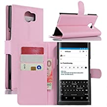 Fettion Blackberry Priv Case, Premium PU Leather Wallet Cases Flip Cover with Stand Card Holder for Blackberry Priv 2015 Smartphone (Wallet - Pink)