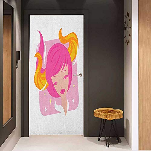 (Door Sticker Mural Zodiac Taurus Abstract Woman Illustration Pink Hair and Orange Horns Female Taurus Portrait WallStickers W31 x H79 Multicolor)