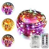ER CHEN Dual-Color LED String Lights(Multicolor/Warm White), 33FT 100LEDs Battery Powered Color Changing Silver Copper Wire Dimmable Decorative Lights with 8 Mode Remote Control Timer
