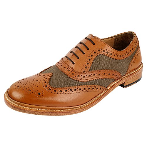 DLT Men's Genuine Imported Leather Canvas with Leather Sole Goodyear Welted Oxford Dress Shoes 10 ()