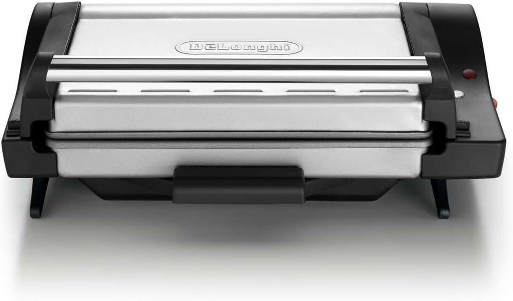 DeLonghi CG4001.BK Grill de contacto, posición barbacoa, bandeja extraíble, 1600 W, color negro y plata
