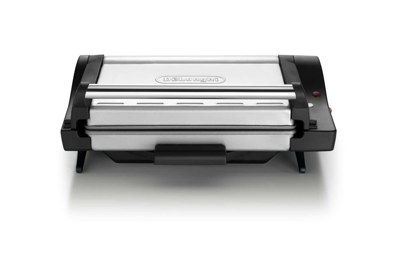 DeLonghi CG4001.BK Grill de contacto, posición barbacoa, bandeja extraíble, 1600 W, color negro y plata: Amazon.es: Hogar