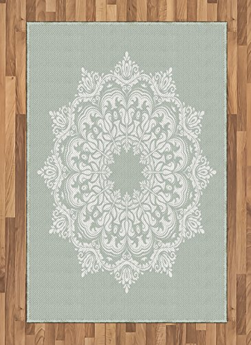 Arabian Area Rug by Ambesonne, Oriental Pattern Damask Arabesque and Floral Elements Classical Artwork Motifs, Flat Woven Accent Rug for Living Room Bedroom Dining Room, 4 x 6 FT, Green White by Ambesonne
