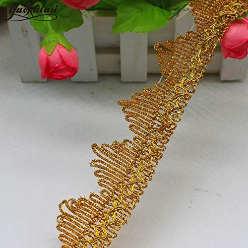 Lace Crafts - Christmas Lace 12 Yards/Lot Bright Gold Braid Lace Ribbon Cosplay Costums Appliques Performance Dress Sewing Apparel Trims4cm - (Color: Gold)]()