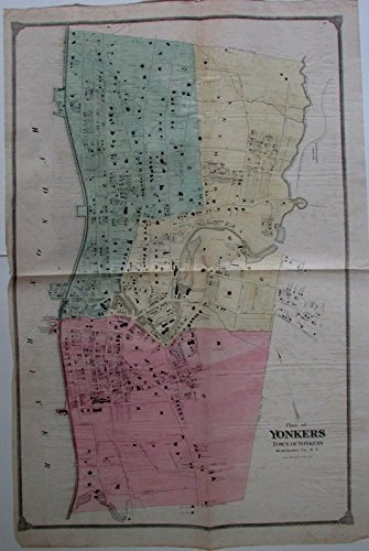 Yonkers New York Westchester County city street plan c.1870 large antique - Yonkers County