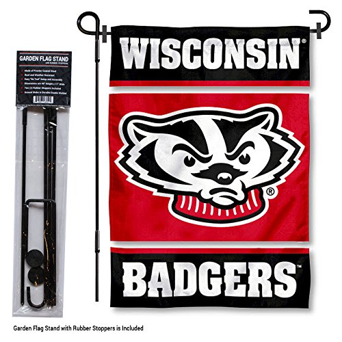 College Flags and Banners Co. Wisconsin Badgers Garden Flag with Stand -