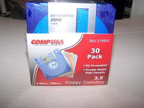 COMPUSA 30 Pack 3.5'' Diskettes 1.44 Mb,720kb. Pc Formatted Double Sided, High Density [Discontinued